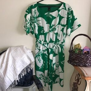 What a cute green and white dress!  With pockets!